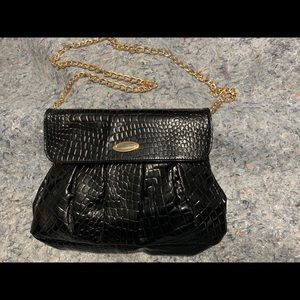 Black Vecceli Italy Croc Style Purse Handbag